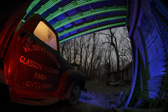 Farm Truck Fish-Eye (Notley Hawkins) Tags: rural missouri notley notleyhawkins 10thavenue httpwwwnotleyhawkinscom missouriphotography notleyhawkinsphotography lightpainting bluelight greenlight blue green night nocturne 光绘 光繪 lichtmalerei pinturadeluz ライトペインティング प्रकाशपेंटिंग ציוראור اللوحةالضوء abandoned longexposure ruralphotography chartitoncountymissouri red redlight rgb outdoor 2017 riverbottoms missouririverbottoms truck farmtruck chevrolet march garage shed