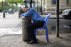 Saigon Security (polybazze) Tags: fuji fujifilm x100t saigon hcmc hochiminhcity vietnam summer vacation urban asia travel unseco heritage security guard sleep tired
