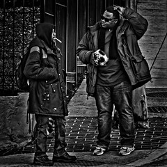 """So Tell Me Bro, What's Going On?, """"The Mystical Bond Of Brotherhood Makes All Men Brothers,"""" Marter Luther King Jr. Avenue, Historic Anacostia, Washington, DC (Gerald L. Campbell) Tags: blackwhite bw blackmale citylife community dc digital documentary freedom historicanacostia injustice inequality indifference love martinlutherkingjravenue male portraitphotography portrait squareformat streetphotography street spirituality urbanphotography urban unitedstates washingtondc yearning yeswecan canonsx60hs"""