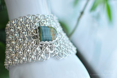 Sterling silver Helm chain mail button cuff with Larsonite (Petrified Bog Wood) (Random Life Project) Tags: jewelry bracelet cuff helm chainmail sterlingsilver buttoncuff larsonite magmgpproject magmgp petrifiedbogwood