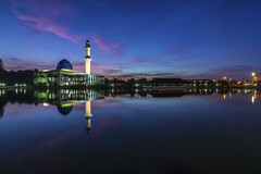 Blue Hour | Universiti Tenaga Nasional Mosque | Single RAW (Mohamad Zaidi Photography) Tags: red cloud lake reflection sunrise landscape bluehour singleraw d7100 universititenaganasional tokina1116 unitenmosque masjiduniten mohamadzaidiphotography