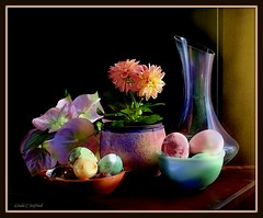 We'll try anything once... (edenseekr) Tags: dahlia stone eggs vase bowls stilllifecomposition