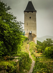 A Wine vineyard tower in Bacharch Germany along the Rhein River (mbell1975) Tags: mist tower castle rain river germany deutschland vineyard europe day wine cloudy rainy german valley schloss turm rhine rhein along burg deutsch a bacharch