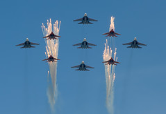 """""""Russian Knights"""" and """"Swifts"""" (Osdu) Tags: russia moscow military salute swift airforce redsquare militaryaviation victoryday mig29 su27 russianknights strizhi russianairforce"""