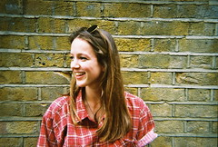 Corky (IEMV.) Tags: portrait people london film girl fashion shirt youth 35mm photography brickwall 35mmfilm bricklane redshirt londonsummer colourfilm londonfashion londonstyle