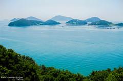 sea world (gwnam.2008) Tags: blue sea sky tree green nature pine landscape island seaside scenery ripple horizon hill wave korea shore emerald  tongyeong
