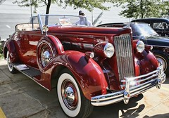 (~ Liberty Images) Tags: ohio classiccar vintagecar automobile burgundy chrome grille packard 1937 redcar americancar libertyimages packard120convertible studebakerpackardshow