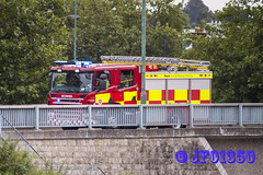 Over The Bridge (jf01350) Tags: bridge blue light river fire lights engine blues bank ladder emergency siren medway appliance ladders maidstone twos