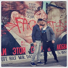 """Mr. Gorbachev, tear off those clothes!"" (Adrian+Shane) Tags: adrianshane adrian shane adrianandshane artists art photography self portrait selfie berlin wall east side gallery eastsidegallery berlinwall secretproject secretprojectrevolution artforfreedom equality marriageequality mdna kiss men gay gaykiss beards beardporn streetart mural graffiti instagram homophobia queer gaypride folsom sex handsome creative love"