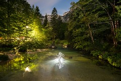 Bathed In Light (All In Camera Lightpainting), Ukanc (flatworldsedge) Tags: park trees light sky lightpainting mountains cold water pine reflections painting star clarity clean clear trail torch slovenia national flashlight wade canopy bohinj triglav tnp gorenjska ukanc strobist originalfilter uploaded:by=flickrmobile flickriosapp:filter=original
