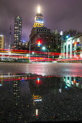 The Beacon (Matt M S) Tags: life street city longexposure light urban toronto ontario canada streets color colour reflection building wet car rain weather fog architecture night 1931 reflections dark flow lights reflecting mirror stream long exposure university downtown boulevard colours traffic metro flag arts trails landmark icon canadian shangrila queen spire trail rainy ave mirrored to colourful dundas multicultural avenue gta iconic beacon metropolitan streaming armoury beaux blogto torontoist cartrailsatnight