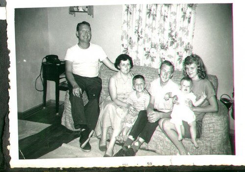 "William Delvie Copeland (""Bill""), left, his wife Marjorie, son William Dale Copeland, two unnamed teenagers (anyone know who they are?), and son Brian Copeland, late 1950s."