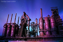 Steel of the Night (socalgal_64) Tags: lighting old history abandoned industry metal architecture night stars colorful industrial artistic pennsylvania decay steel rusty structure pa historical bethlehem decayed bethlehemsteel relic abandonement blastfurnaces carolynlandi