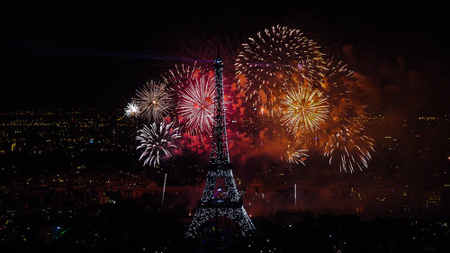 Fireworks on Eiffel Tower