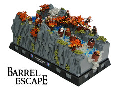 Barrel Escape (Disco86) Tags: castle classic waterfall lego contest barrel lord rings ccc hobbit colossal bilbo desolation smaug mirkwood cccxi vision:outdoor=0974