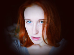 img032 (Osyam-osyam) Tags: blue red portrait haircut color girl face look self hair ginger eyes lips redhead tired bones freckles sight