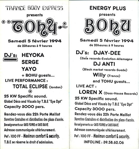 "Patrice Heyoka - Flyer 05/02/1994 - ""Tohu-Bohu"" (Paris) verso <a style=""margin-left:10px; font-size:0.8em;"" href=""http://www.flickr.com/photos/110110699@N03/11308151053/"" target=""_blank"">@flickr</a>"