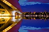 Destination Earth (Nespyxel) Tags: city light valencia reflections spain nightshot calatrava metropolis spaceship valenza riflessi nocturne luce spagna ciudaddelasartesylasciencias geometrie simmetrie symmetries nespyxel stefanoscarselli