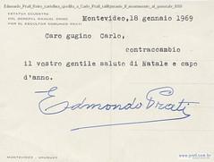 Edmondo Prati Retro cartolina spedita a Carlo Prati raffigurante il monumento al generale 1969