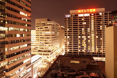 Hilton (Curtis Gregory Perry) Tags: building sign night portland hotel nikon long exposure downtown neon hilton pdx d800e