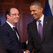 President Hollande shakes hands with President Obama at Monticello
