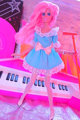 Jem! Takes the stage! (padme9990) Tags: pink blue music toy toys star dance doll neon stage barbie pop awsome 80s idol jem 1980s rockers integrity holograms jazzie vision:sky=0764 vision:outdoor=0687