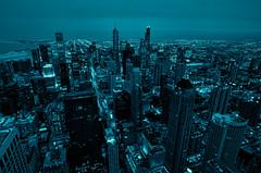 Blue #3488 (benchorizo) Tags: longexposure chicago skyline cityscape skyscrapers nightshots downtownchicago topaz chicagoskyline chicagoist banias johnhancockobservatory d7000 benchorizo romeobanias