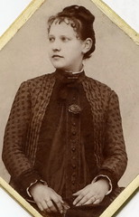 1880s, detail. Young woman expecting a child (elinor04 thanks for 27,000,000+ views!) Tags: old portrait woman flower fashion rose vintage photo cabinet antique victorian young style pregnant diamond card photograph format hairstyle muschel 1880s elinorsvintagephotocollection
