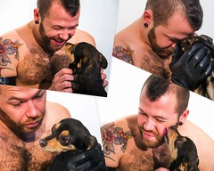 Eric and Bo (Puparrazi PhotographY) Tags: boy portrait people hairy rescue dog pet pets chicago playing chihuahua man black hot cute men guy bird love smile leather boston collage tongue tattoo ink puppy beard t fun happy mutt model nikon eric soft shoot break play cheek heart emotion affection time head chest hard tan adorable kisses ears hunk professional gloves extras mohawk opposites bo bonus pup held tight shelter playful humming hold mut overload licks k9 scruff kink dogpeople d7100 attilights