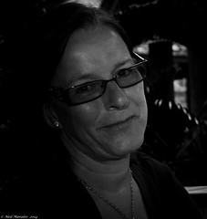 portrait bw woman white black monochrome smile face lady contrast dark lunch glasses nikon close darkness posed neil mature elaine spectacles d7100 moralee neilmoralee grenada2014nikond7100neilmoralee