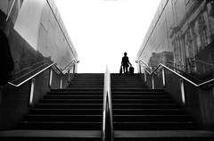 going home (dangrahamphotography) Tags: camera people bw film home nature stairs work newcastle town time hard going days northumbria filmcamera northeast bwphotography humannature mycity goingdown ncl shoping blackwhitephotos photographerslife bwartaward