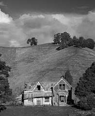 Old Farm House (Pete Prue) Tags: old trees newzealand blackandwhite abandoned monochrome blackwhite pentax nelson hills veranda villa derelict sh1 k3 malborough peteprue