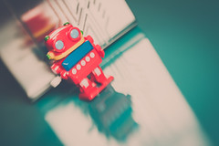 Retro Robot 2017_Velvetine_8864_ By Phil Ovens (Pitcher_Phil) Tags: robot toy vintage retro lensbaby shiny plastic colourful bokeh reflections metallic glossy fun windup mechanical bright