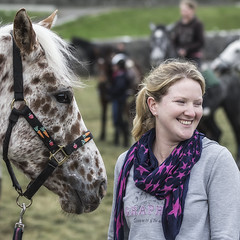 Two beauties (Frank Fullard) Tags: frankfullard fullard pony horse equine smile spotted appoloosian piebald american beauty ballinasloe horsefair fair galway irish ireland portrait pretty blonde idaho movie cowboy indian