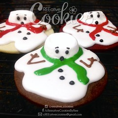 Melting Snowmen Cookies (cREEative_Cookies) Tags: holiday decorated sugar cookies creeative decorating platter holidays festivities party theme desserts thanksgiving give thanks pumpkin pie snowflakes winter wonderland gingerbread house ninjabread grinch stole christmas 3d tree snowmen snowflake snowman turkey face santa claus grumpy cat ornaments icicles rudolph reindeer sunflower art edible yummy food