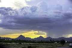 Rain falling from the sky (MegHan Seidel) Tags: tucson arizona travel weather sky sunset rain horizon mountains usa photography landscape america monsoon season southwest south west