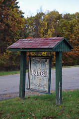 (Shane Henderson) Tags: wood old autumn trees roof fall sign architecture forest woods peeling lodge cover worn weathered distressed northpark mccandlesstownship