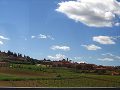 May 13, 2013 (the brilliant magpie) Tags: road trip travel vacation sky italy bus green field clouds spring italia driving tour north may hills