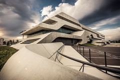 "The spaceship ""Pierres Vives"" (day two) (Jrmie Toussaint) Tags: sunset france architecture clouds concrete montpellier walls languedocroussillon zahahadid"