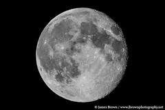 Waning Gibbous Moon (96.5% Illuminated) (J. Brown Photography) Tags: brown moon white black photography james photo sony astrophotography alpha lunar