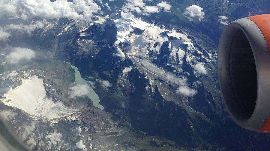 Итальянские Альпы, вид с самолёта