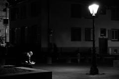 Prayer under the light (Mathieu Thiebaut | http://www.mathieuthiebaut.com) Tags: bridge light blackandwhite water night reflections shoe flickr noiretblanc meeting strasbourg reflets reflects flickriver