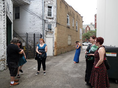 Randall and Val and Clara and Nadja and Miller wait outside at Few Distillery in Chicago (benchilada) Tags: clara chicago outside miller few val wait distillery randall nadja