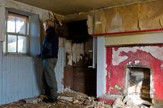 Looking back, Cabrach, Aberdeenshire (James_at_Slack) Tags: red selfportrait abandoned me window scotland fireplace aberdeenshire derelict cupboard ruraldecay windowframe decayed flakingpaint tongueandgroove cabrach bowmans ruralexploration jamesdyasdavidson