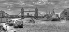Looking towards Tower Bridge (ArtGordon1) Tags: uk england blackandwhite london thames towerbridge blackwhite hmsbelfast theriverthames warship u27 davegordon explored davidgordon artgordon1 daveartgordon daveagordon davidagordon