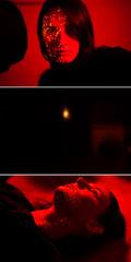 Home Planetarium (laurenabishop) Tags: light red portrait selfportrait stars warm triptych pinpoints laurenbishop homeplanetarium