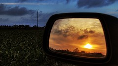 sunset car landscape countryside intryck rearmirror backspegel fotosondag fs131110