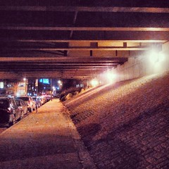 Slide Under (phillytrax) Tags: city urban usa philadelphia valencia night america square unitedstates pennsylvania overpass pa squareformat philly oldcity cityofbrotherlylove vinestreetexpressway i676 iphoneography instagramapp uploaded:by=instagram