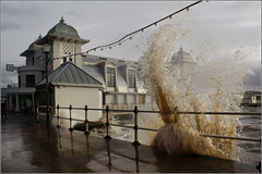 High tides and wind (Capt' Gorgeous) Tags: sea storm weather wales pier waves wind tide spray esplanade penarth bristolchannel