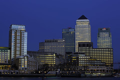 Canary Wharf (hawkey81) Tags: city uk england urban london architecture night twilight europe skyscrapers clear business metropolis canarywharf riverthames finance worldcity